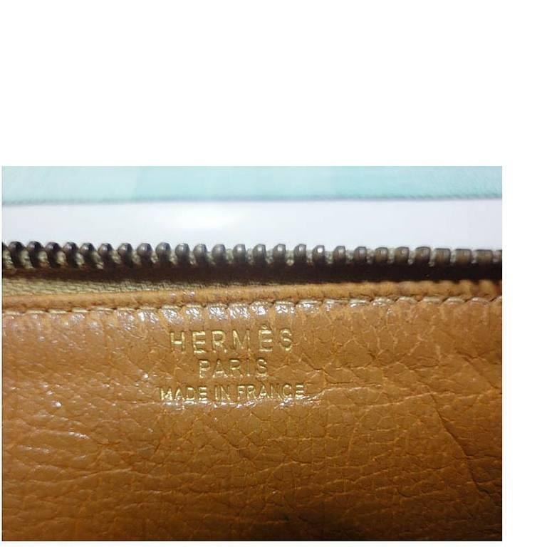 80's vintage HERMES tanned brown, courchevel leather, shoulder bag, clutch purse For Sale 2