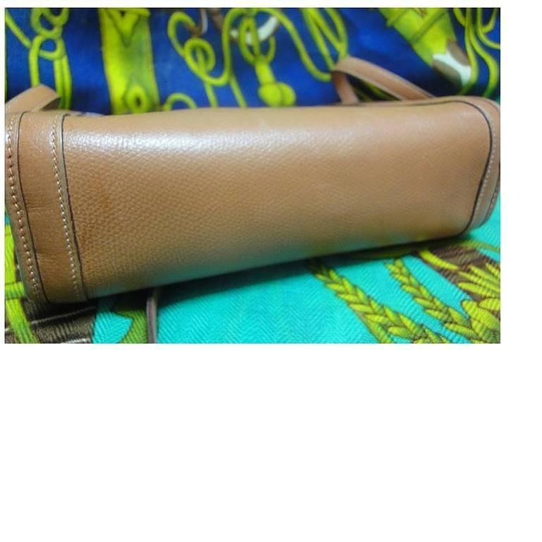 Women's or Men's 80's vintage HERMES tanned brown, courchevel leather, shoulder bag, clutch purse For Sale