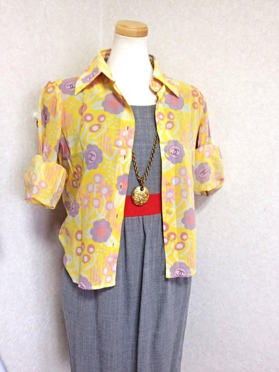 Orange Vintage CHANEL yellow, pink, orange, etc floral print cotton blouse, shirt. 34 For Sale