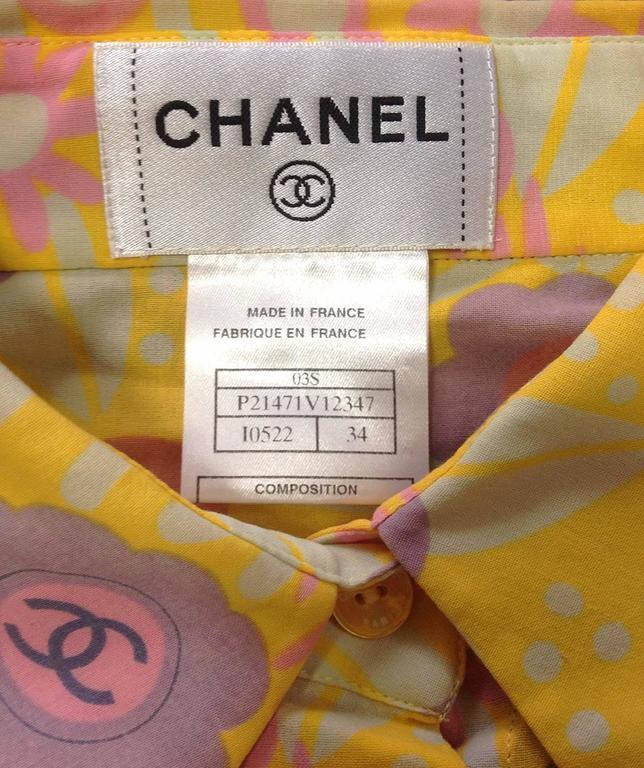 Vintage CHANEL yellow, pink, orange, etc floral print cotton blouse, shirt. 34 For Sale 1