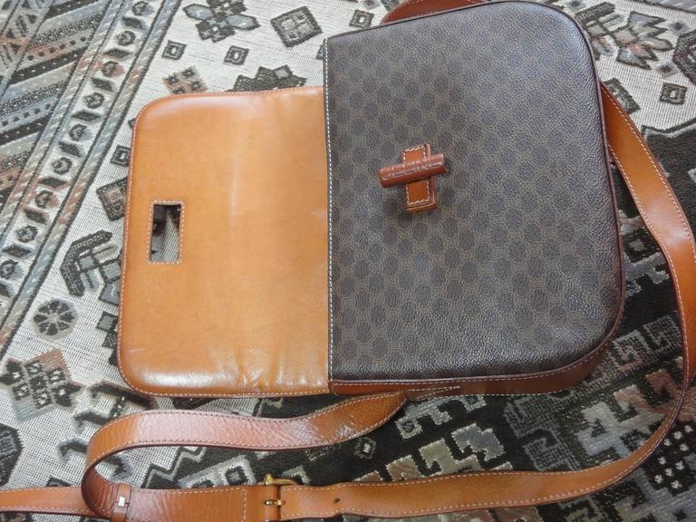 Vintage CELINE dark brown and brown macadam blason pattern shoulder bag 5