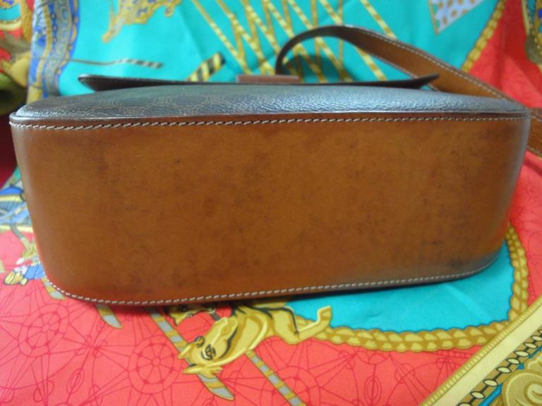 Vintage CELINE dark brown and brown macadam blason pattern shoulder bag 4