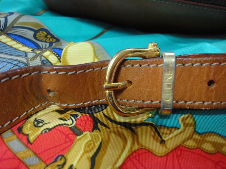Vintage CELINE dark brown and brown macadam blason pattern shoulder bag 9