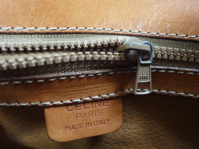 Vintage CELINE dark brown and brown macadam blason pattern shoulder bag 6
