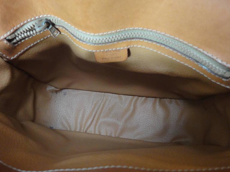 Vintage CELINE dark brown and brown macadam blason pattern shoulder bag 7