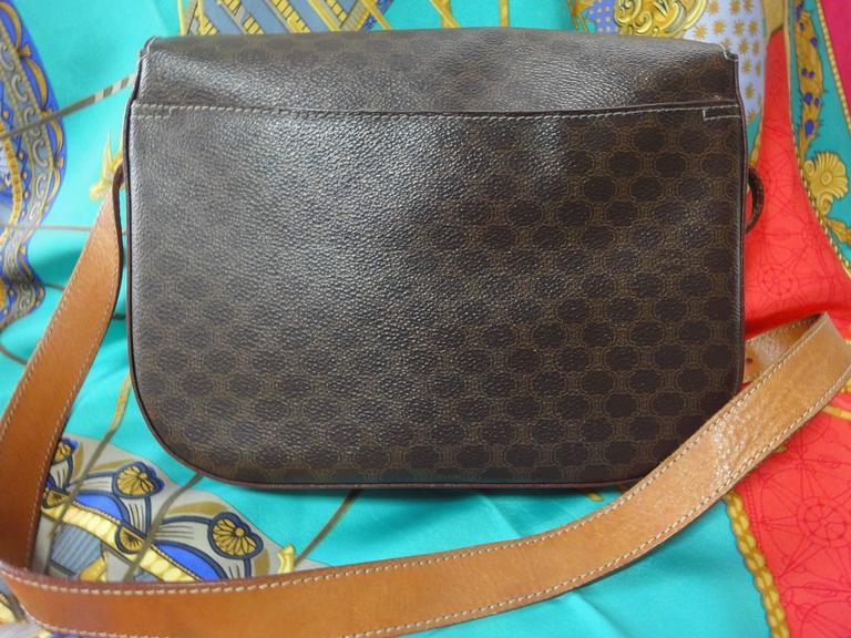 Vintage CELINE dark brown and brown macadam blason pattern shoulder bag 2