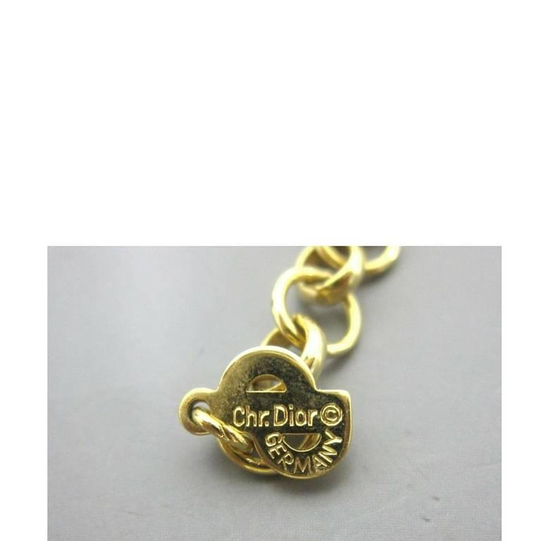 Women's MINT. Vintage Christian Dior golden chain necklace, black and rhinestone crystal For Sale