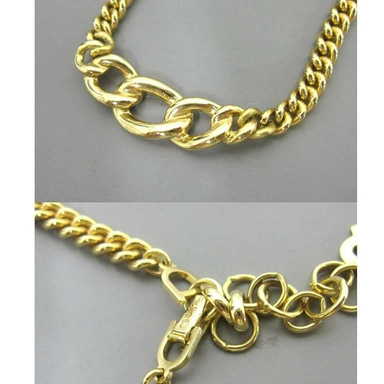 MINT. Vintage Christian Dior golden chain necklace, black and rhinestone crystal For Sale 1