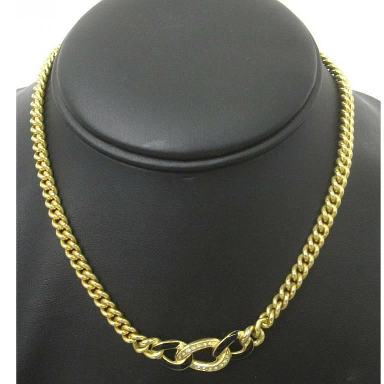MINT. Vintage Christian Dior golden chain necklace, black and rhinestone crystal For Sale 2