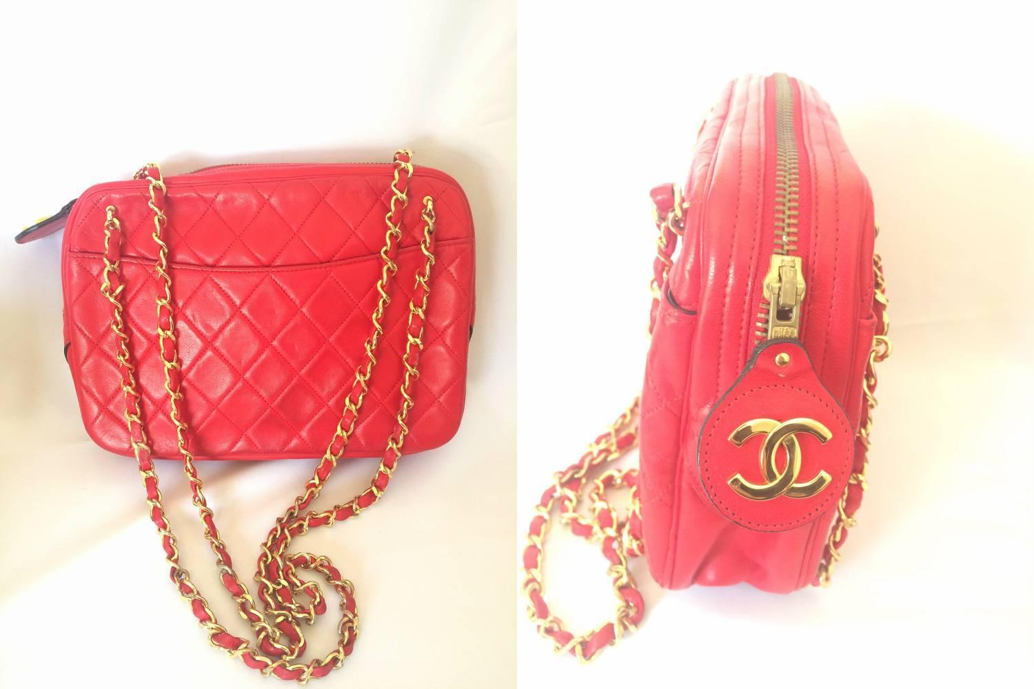 80's Vintage CHANEL red lambskin classic shoulder purse ...