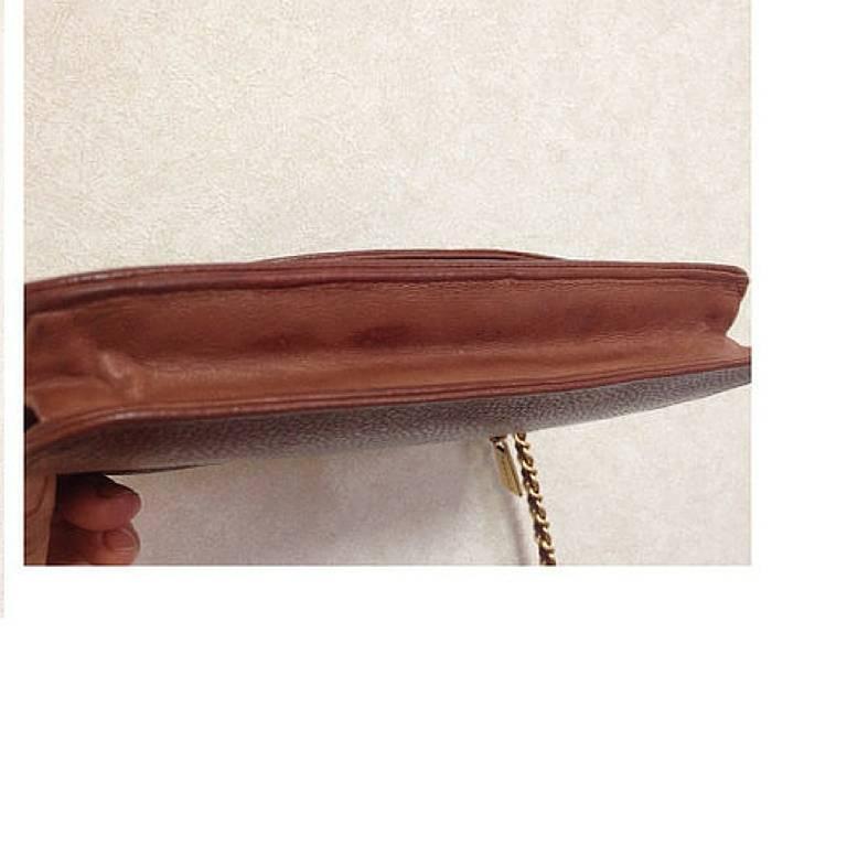MINT. Vintage CHANEL brown caviar shoulder clutch chain bag, iPhone, wallet. 6