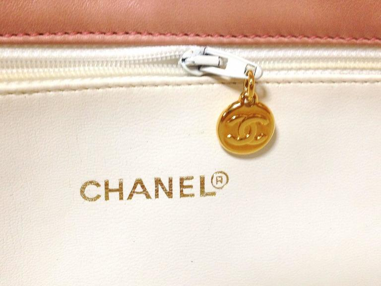 Vintage CHANEL milky pink lambskin shoulder tote bag with gold tone chain straps For Sale 1