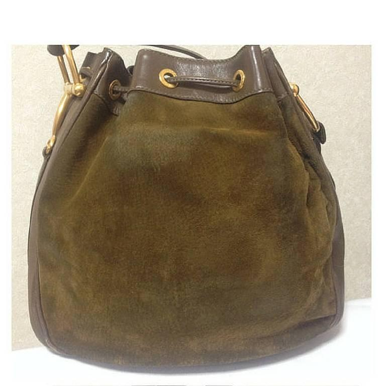 Gucci Vintage Gucci Genuine Brown Suede Large Hobo Bucket Shoulder Bag, Horsebit Motif