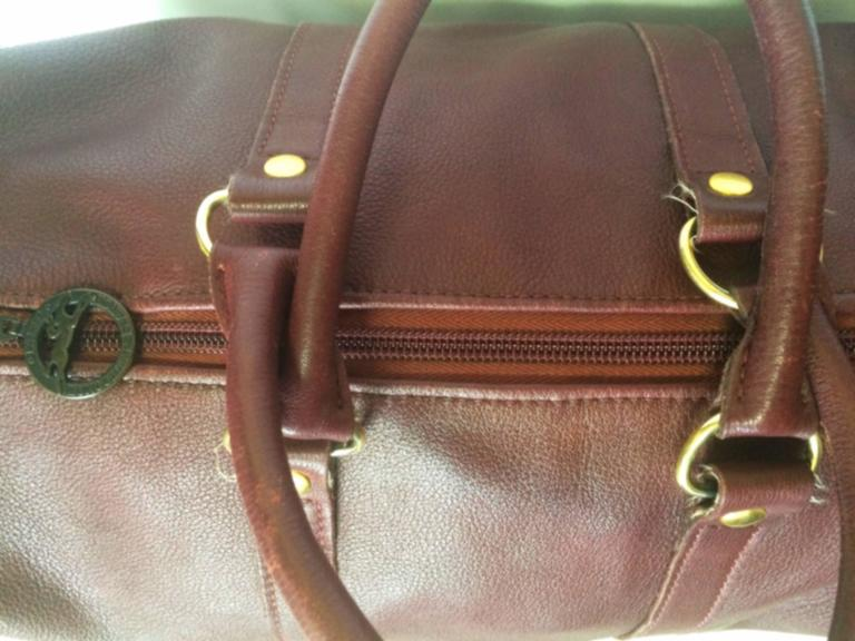 80's Vintage Longchamp rare dark wine leather duffle bag, mini travel purse.  For Sale 2