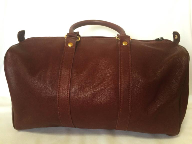 Pink 80's Vintage Longchamp rare dark wine leather duffle bag, mini travel purse.  For Sale