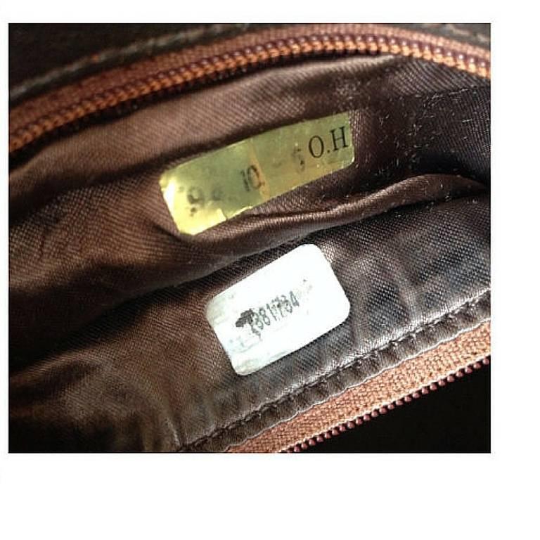 Vintage CHANEL dark brown V stitch suede leather shoulder bag with CC stitch 9