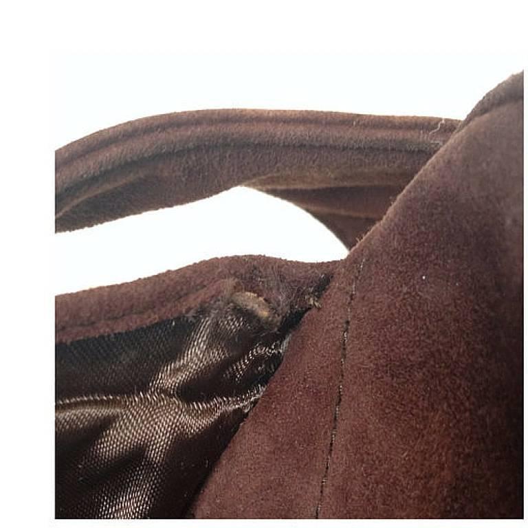 Vintage CHANEL dark brown V stitch suede leather shoulder bag with CC stitch 6