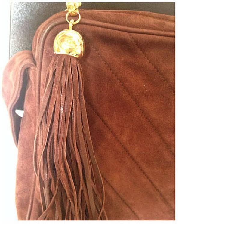 Vintage CHANEL dark brown V stitch suede leather shoulder bag with CC stitch 3