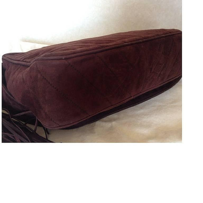 Vintage CHANEL dark brown V stitch suede leather shoulder bag with CC stitch 5