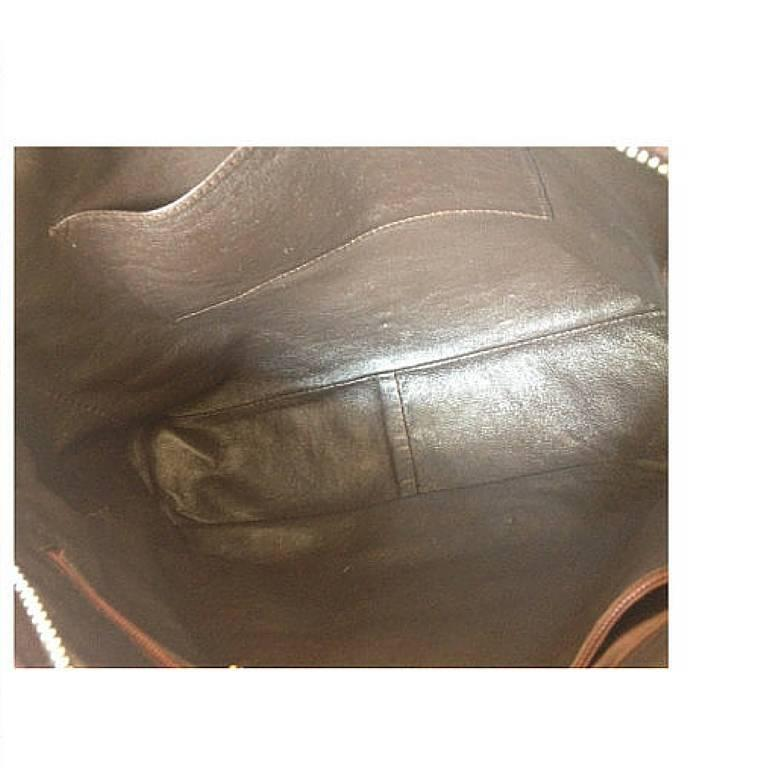 Vintage CHANEL dark brown V stitch suede leather shoulder bag with CC stitch 7