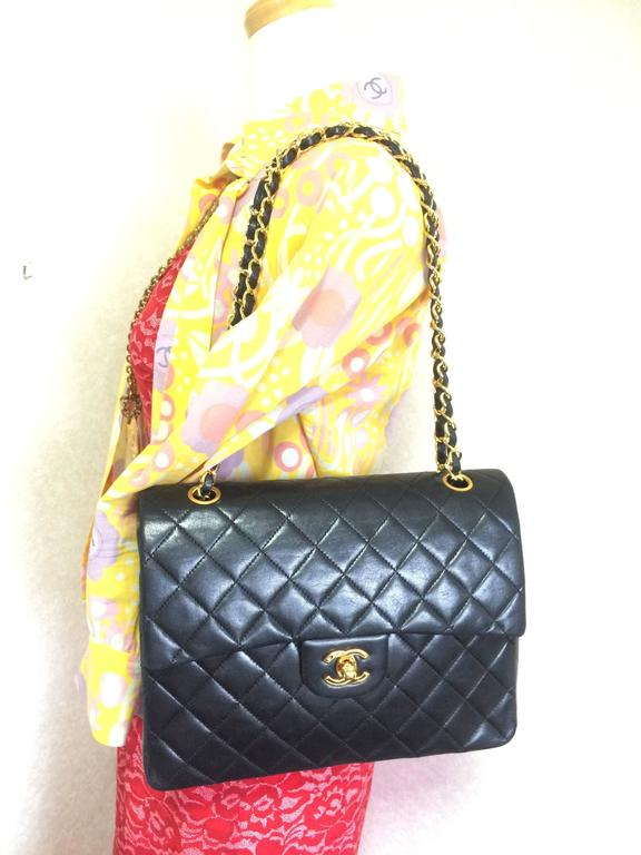 Vintage CHANEL black lambskin classic 2.55 double flap shoulder bag with cc 9