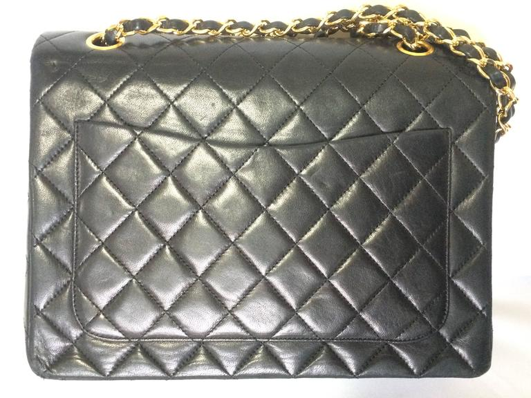 Vintage CHANEL black lambskin classic 2.55 double flap shoulder bag with cc 3