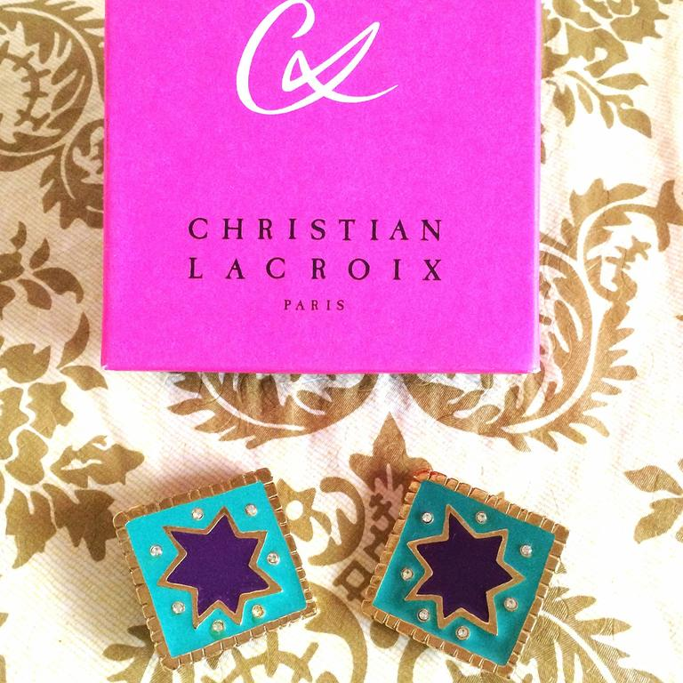 Vintage Christian Lacroix blue and purple enamel extra large square earrings with crystals. Rare statement jewelry. Great gift.