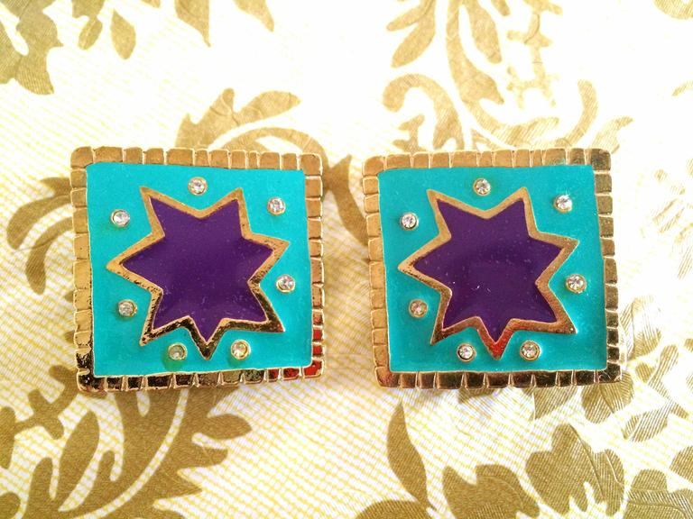 Vintage Christian Lacroix blue and purple enamel large square earrings, crystals For Sale 2