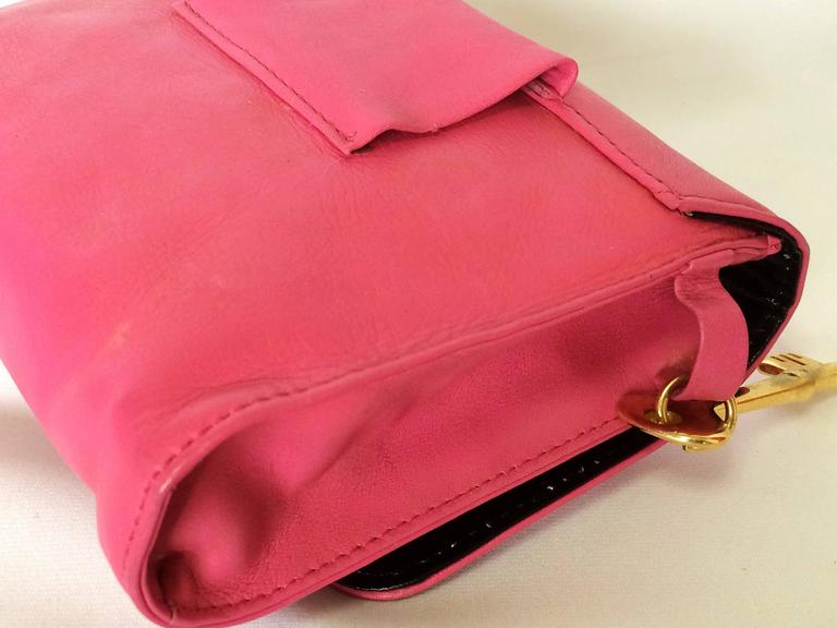 Vintage Moschino Pink Leather Waist Purse Fanny Bag