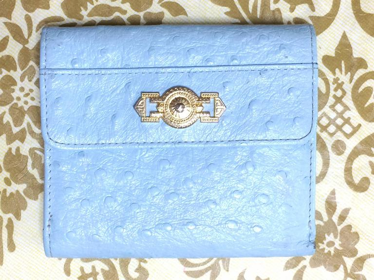 Vintage Gianni Versace ostrich-embossed light blue leather wallet with sunburst For Sale 4