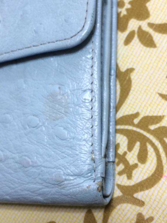 Vintage Gianni Versace ostrich-embossed light blue leather wallet with sunburst For Sale 1