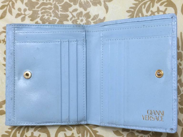 Vintage Gianni Versace ostrich-embossed light blue leather wallet with sunburst For Sale 2