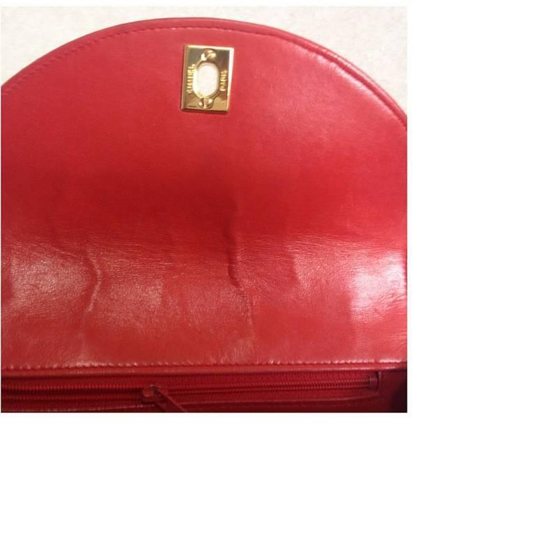 Vintage CHANEL lipstick red lamb leather shoulder bag with leather strap and cc. 7