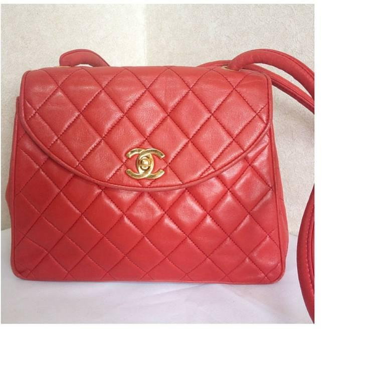 Vintage CHANEL lipstick red lamb leather shoulder bag with leather strap and cc. 2