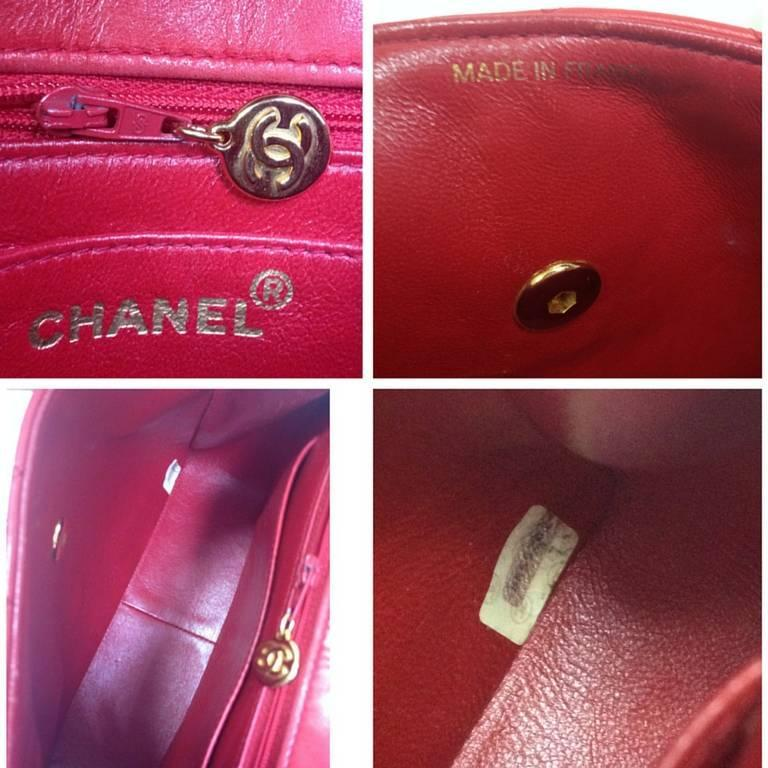 Vintage CHANEL lipstick red lamb leather shoulder bag with leather strap and cc. 9