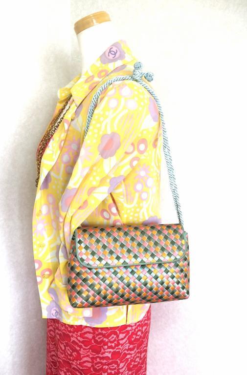 Vintage Bottega Veneta satin intrecciato bag multicolor, pink, blue, green, etc. For Sale 4