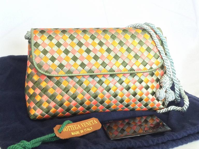 Vintage Bottega Veneta satin intrecciato bag multicolor, pink, blue, green, etc. For Sale 5