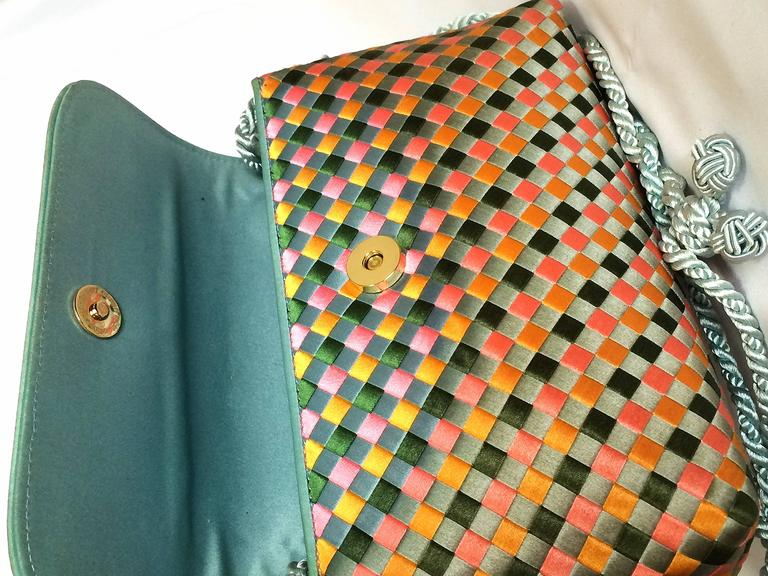 Vintage Bottega Veneta satin intrecciato bag multicolor, pink, blue, green, etc. For Sale 1