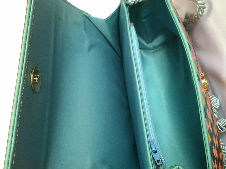 Vintage Bottega Veneta satin intrecciato bag multicolor, pink, blue, green, etc. For Sale 3
