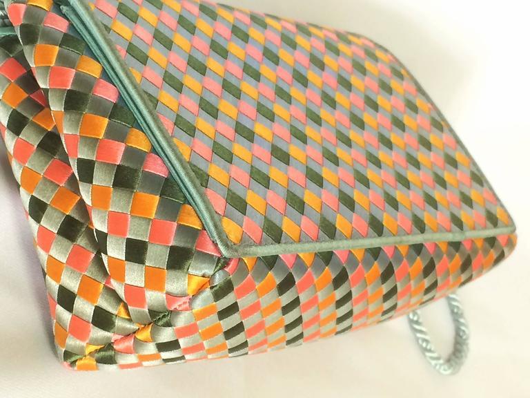 Vintage Bottega Veneta satin intrecciato bag multicolor, pink, blue, green, etc. In Good Condition For Sale In Kashiwa, Chiba