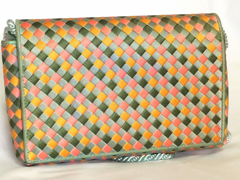 Beige Vintage Bottega Veneta satin intrecciato bag multicolor, pink, blue, green, etc. For Sale