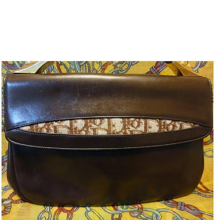 Vintage Christian Dior dark brown leather handbag with partial trotter jacquard. 3