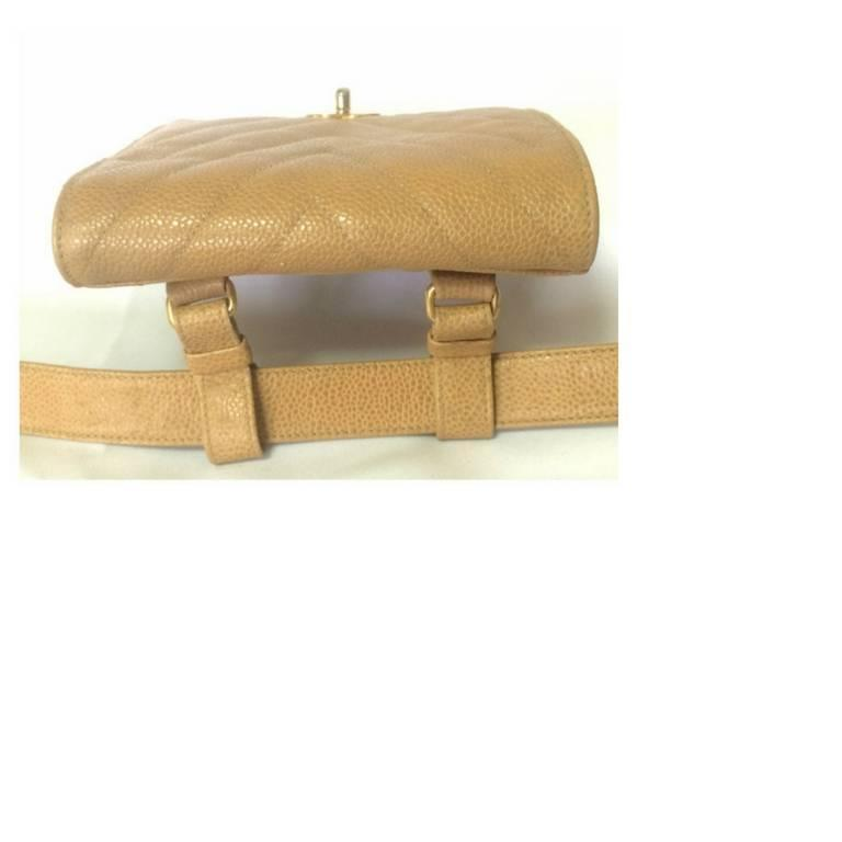 Women's Vintage CHANEL beige caviar  V stitch, chevron, waist bag, hip, fanny pack. For Sale