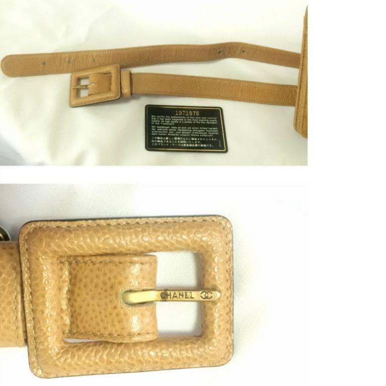 Vintage CHANEL beige caviar  V stitch, chevron, waist bag, hip, fanny pack. For Sale 2