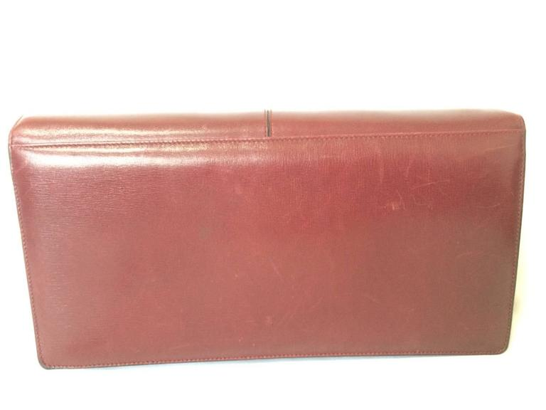 Vintage Bally wine leather clutch bag, party and classic purse with golden logo. 3