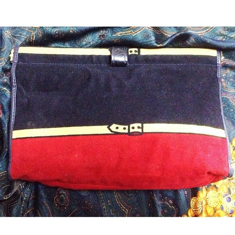 Vintage Roberta di Camerino, Ambassador, red, navy, and beige velvet clutch bag. 3