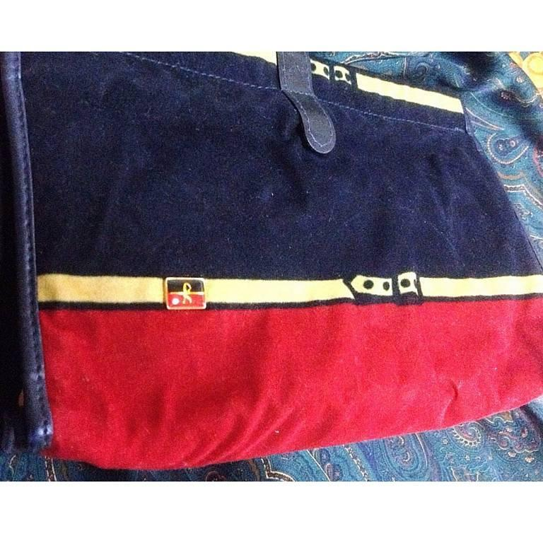 Vintage Roberta di Camerino, Ambassador, red, navy, and beige velvet clutch bag. 2