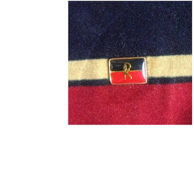 Vintage Roberta di Camerino, Ambassador, red, navy, and beige velvet clutch bag. 5