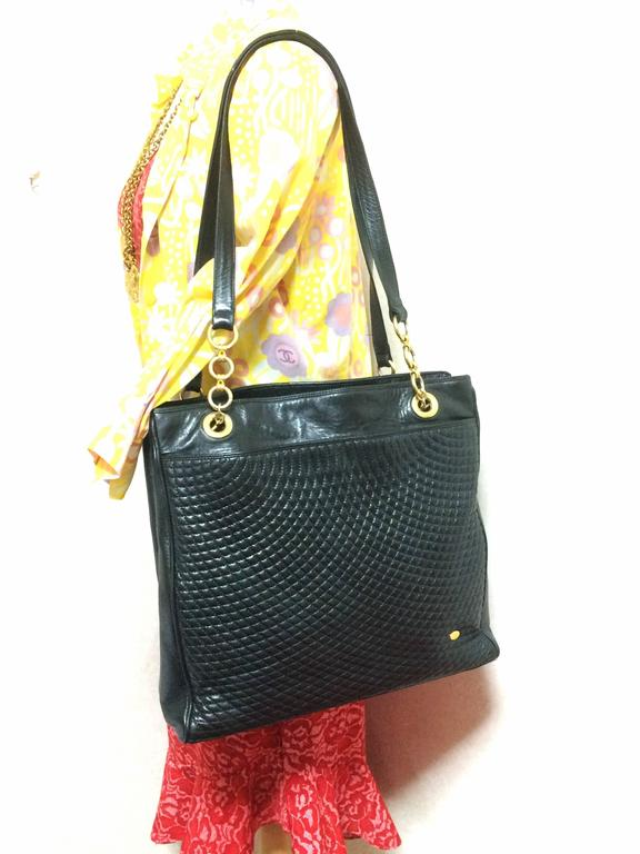 Vintage Bally Classic Black Quilted Leather Large Shopper