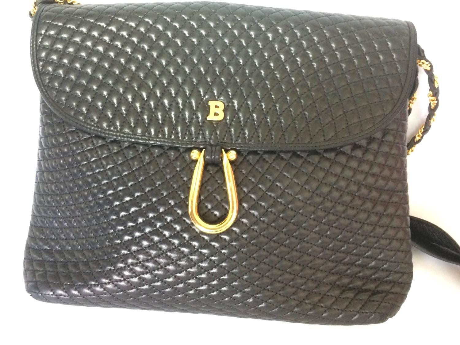 Vintage Bally Classic Black Quilted Leather Shoulder Bag